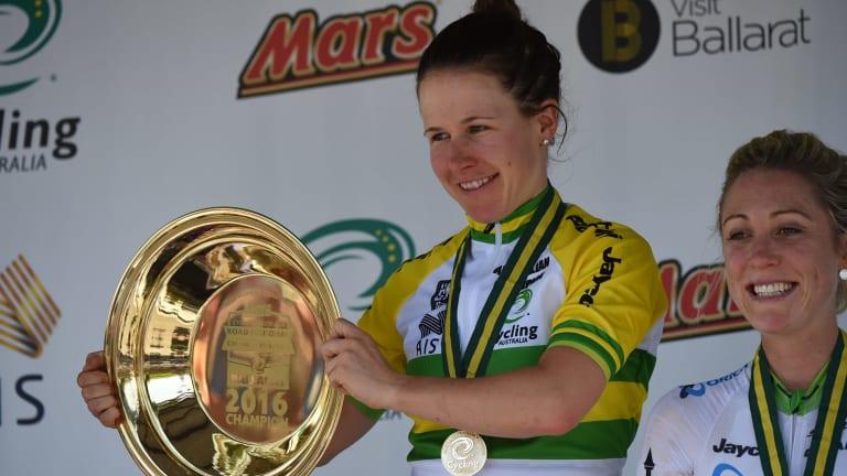 Brilliant: Amanda Spratt with the spoils of victory.