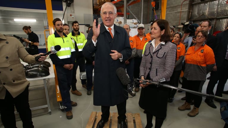 Prime Minister Malcolm Turnbull in Geelong with Corangamite MP Sarah Henderson on Thursday.