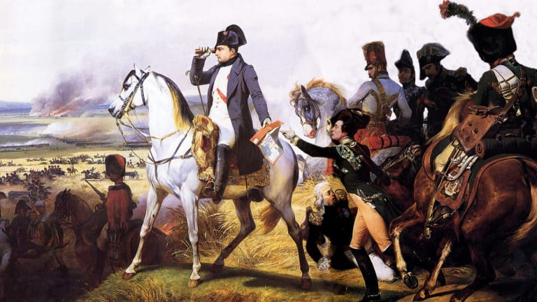 Napoleon at Waterloo looks in vain for James Ainslie.