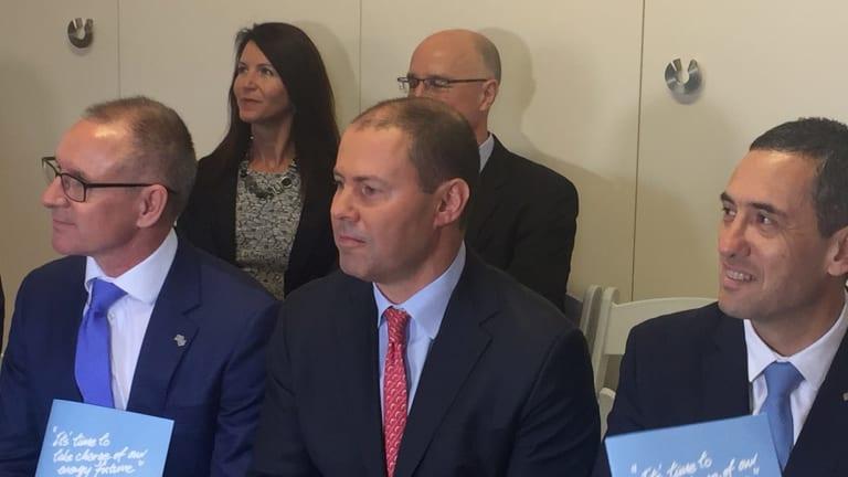 SA Premier Jay Weatherill, federal Energy Minister Josh Frydenberg and SA Treasurer Tom Koutsantonis earlier this year.