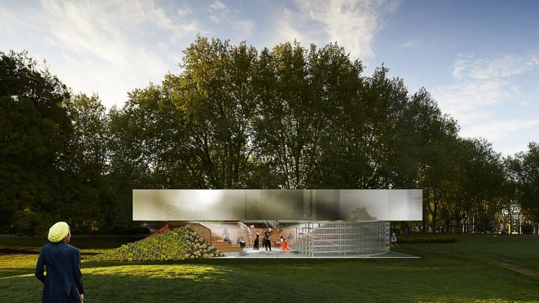 An artist's impression of the 2017 MPavilion, designed by Rem Koolhaas and David Gianotten.