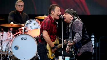 Springsteen and E Street band guitarist Steven Van Zandt in action at AAMI Park.