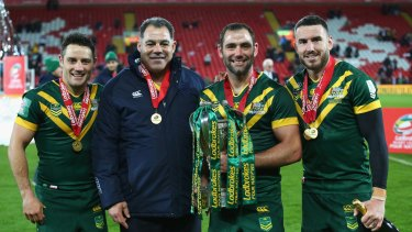 Ambassadors: Cooper Cronk, Mal Meninga, Cameron Smith and Darius Boyd have restored international rugby league's former glory.