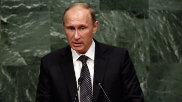 Russian President Vladimir Putin addresses the United Nations General Assembly on Monday, when he called for an international coalition to join Syrian President Bashar al-Assad in the fight against Islamic State.