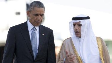 US President Barack Obama with Saudi Foreign Minister Adel al-Jubeir in Riyadh.
