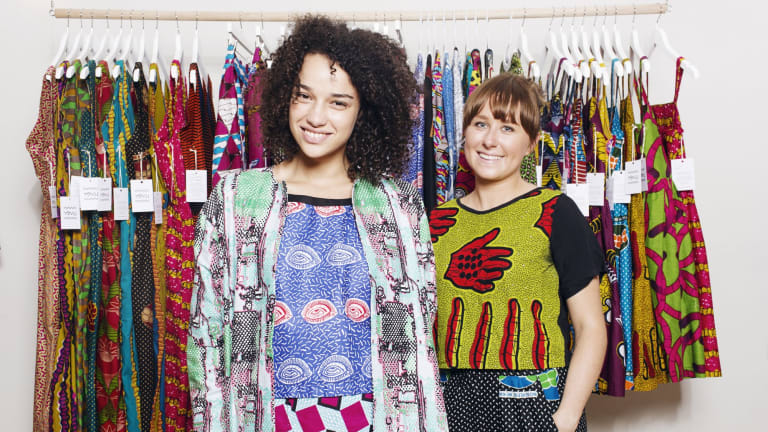 Anna Robertson, right, and a model at her Yevu pop-up shop in Redfern.