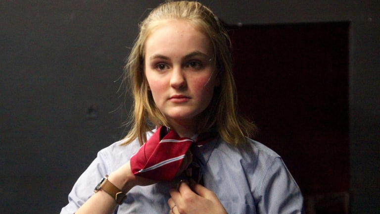 Amelia Gilling in rehearsal for Versions of Us. Photo Canberra Youth Theatre.