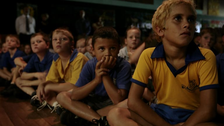 Children from Ross Hill Public School in Inverell gather  to watch a live broadcast of Kevin Rudd's apology.