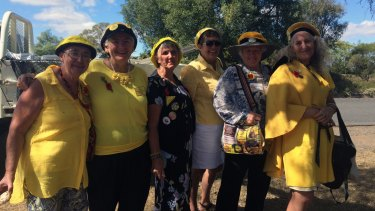 """The """"Knitting Nanas"""" attend the Acland Anzac Day ceremony."""