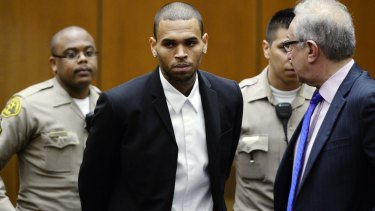 Chris Brown, pictured during a probation hearing in 2013.