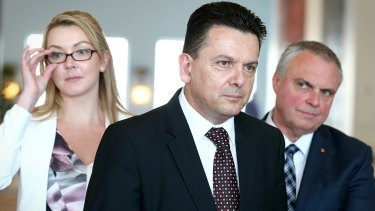 NXT Senators Skye Kakoschke-Moore, Nick Xenophon and Stirling Griff.