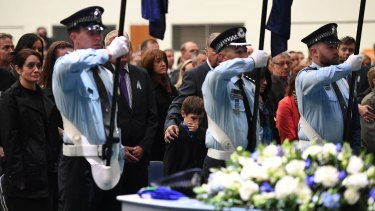 Senior Constable Brett Forte is farewelled at a funeral service in Toowoomba.