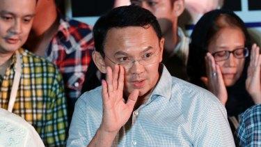 "Jakarta Governor Basuki ""Ahok"" Tjahaja Purnama after initial results showed he had been defeated."