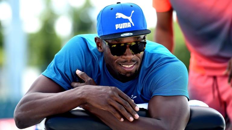 Marquee attraction: Usain Bolt training at Lakeside Stadium ahead of the Nitro Athletics meet.
