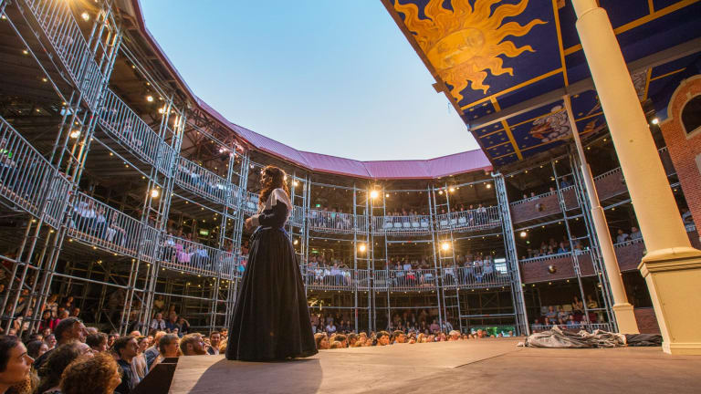 <i>As You Like It</I> at the Pop-Up Globe, which is designed so the audience can get up close to the action on the stage.