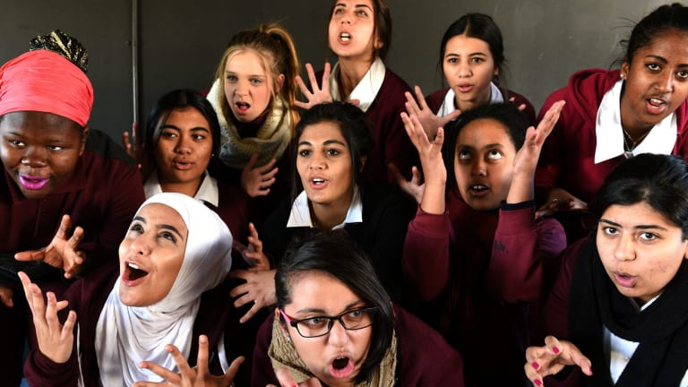 Students from Blacktown Girls High School channel the witches of  Macbeth  in Bell Shakespeare's educational program.