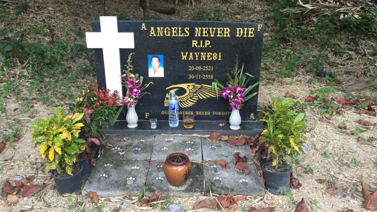A commemorative stone for Wayne Schneider at at a Hells Angels compound in Pattaya.