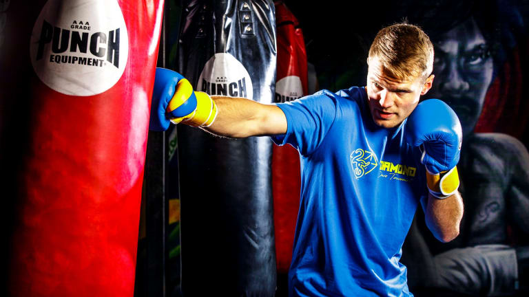 Canberra boxer David Toussaint training in the lead-up to his fight on the Manny Pacquiao-Jeff Horn card in Brisbane on July 2.