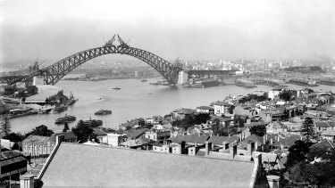 View from North Sydney of the construction of the Sydney Harbour Bridge in  1930.