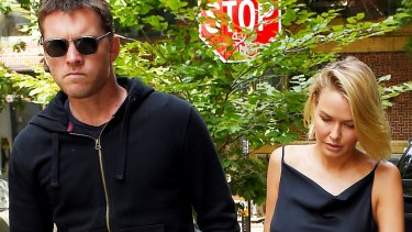 Notoriously private couple Sam Worthington and Lara Bingle seen together in New York in September 2014.