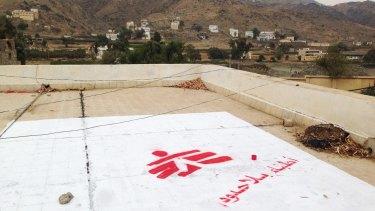 The Medecins Sans Frontieres logo at the site of their hospital in Saada, Yemen, seen in July.