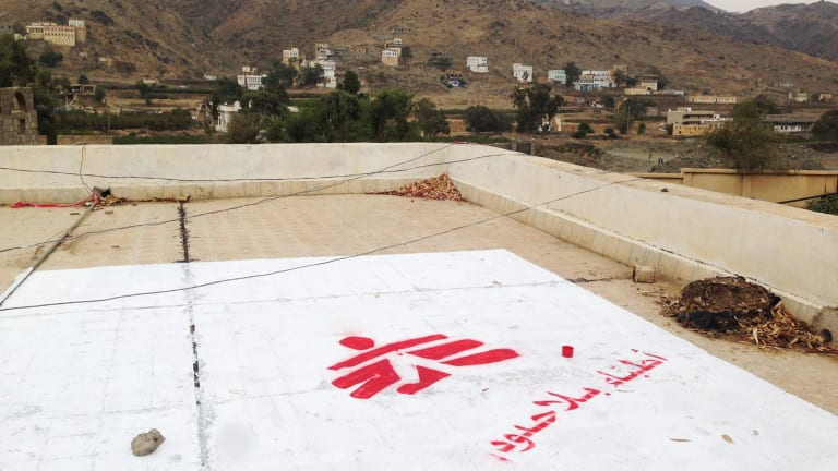 The Medecins Sans Frontieres logo at the site of their hospital in Saada, Yemen, seen in July.