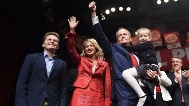 Mr Shorten and his family at Labor's campaign launch on Sunday.