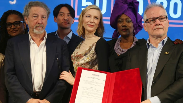 Jury members Ava DuVernay, from left, Robert Guediguian, Chang Chen, Cate Blanchett, Khadja Nin and Cannes Film Festival Director Thierry Fremaux with the 50/50 2020 Gender Equality Pledge
