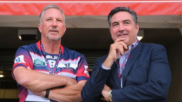 Rebel with a cause: Melbourne Rebels owner Andrew Cox (right) with England cricket great Ian Botham.