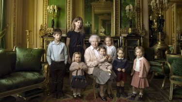 The Queen  with her five great-grandchildren and her two youngest grandchildren at Windsor Castle. From left James, eight, Lady Louise, 12, (children of The Earl and Countess of Wessex) Mia Tindall, two, the Queen, Princess Charlotte, 11 month olds, Savannah Phillips, five, Prince George, two, and Isla Phillips, three.