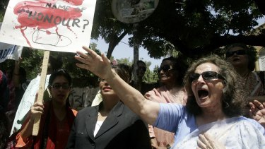 Human rights activists protest against honour killing, in Karachi, Pakistan, in 2008.