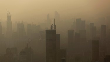 The 'airpocalypse' of winter 2013. Smog hangs in the air around buildings in Shenzhen.
