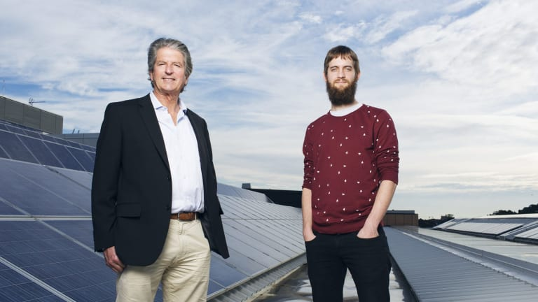 Professor Martin Green and  PhD student Mattias Juhl (right) at UNSW's School of Photovoltaic and Renewable Energy Engineering.