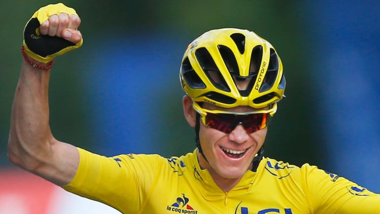 Crhis Froome celebrates winning the 2016 Tour de France.