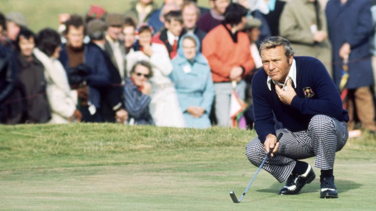 1973: Palmer lines up a putt during the Ryder Cup at Muirfield in Scotland.