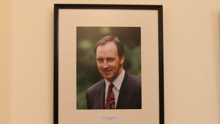 Portrait of former ALP leader Paul Keating as it appears in the caucus room at Parliament House in Canberra.