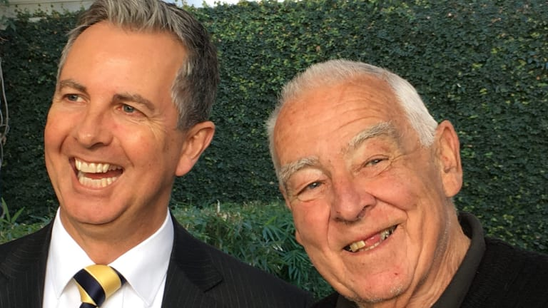 Smiles all round when Val Jeffery entered parliament last year. Mr Jeffery, pictured with then Liberal leader Jeremy Hanson, has died.