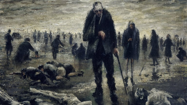 <i>Blind man in Belsen</i>, an oil on canvas painting by Alan Moore, Melbourne, Victoria, 1947.