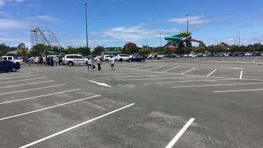 Car parks were easy to find at Dreamworld on Wednesday.