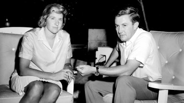 Dawn Fraser with her solicitor Edward France in Sydney on March 3, 1965, the day after she was banned from swimming for 10 years.