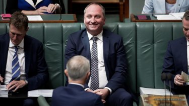 Barnaby Joyce in Question Time on a testing day for him.