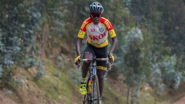 Jean-Eric Habimana pestered his parents for a bike to take chickens to the markets so he could learn cycle.