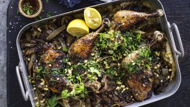 Adam Liaw's sumac roast chicken with onions and flatbread