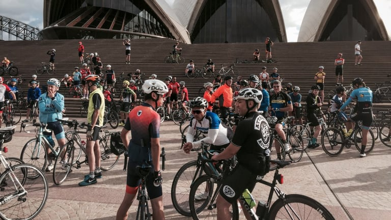 Cyclists paid tribute to Mike Hall at a memorial bike ride at the Sydney Opera House after his death in the Indian Pacific Wheel Race last year.