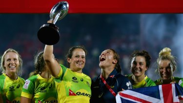 Women's sevens captain Sharni Williams, in blue, hopes they can forge their own identity in the Australian sporting landscape.