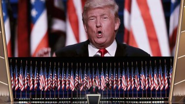 Donald Trump gives his nomination acceptance speech in Cleveland, Ohio.