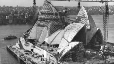 The Sydney Opera House under construction in 1966.