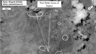 A damage assessment image of Shayrat airbase in Syria after the US air strike on Friday.