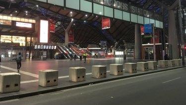 Anti-terror bollards around Southern Cross Station.