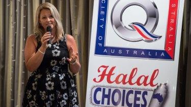 Kirralie Smith speaks at a Q Society fundraiser for her legal battle on February 9.